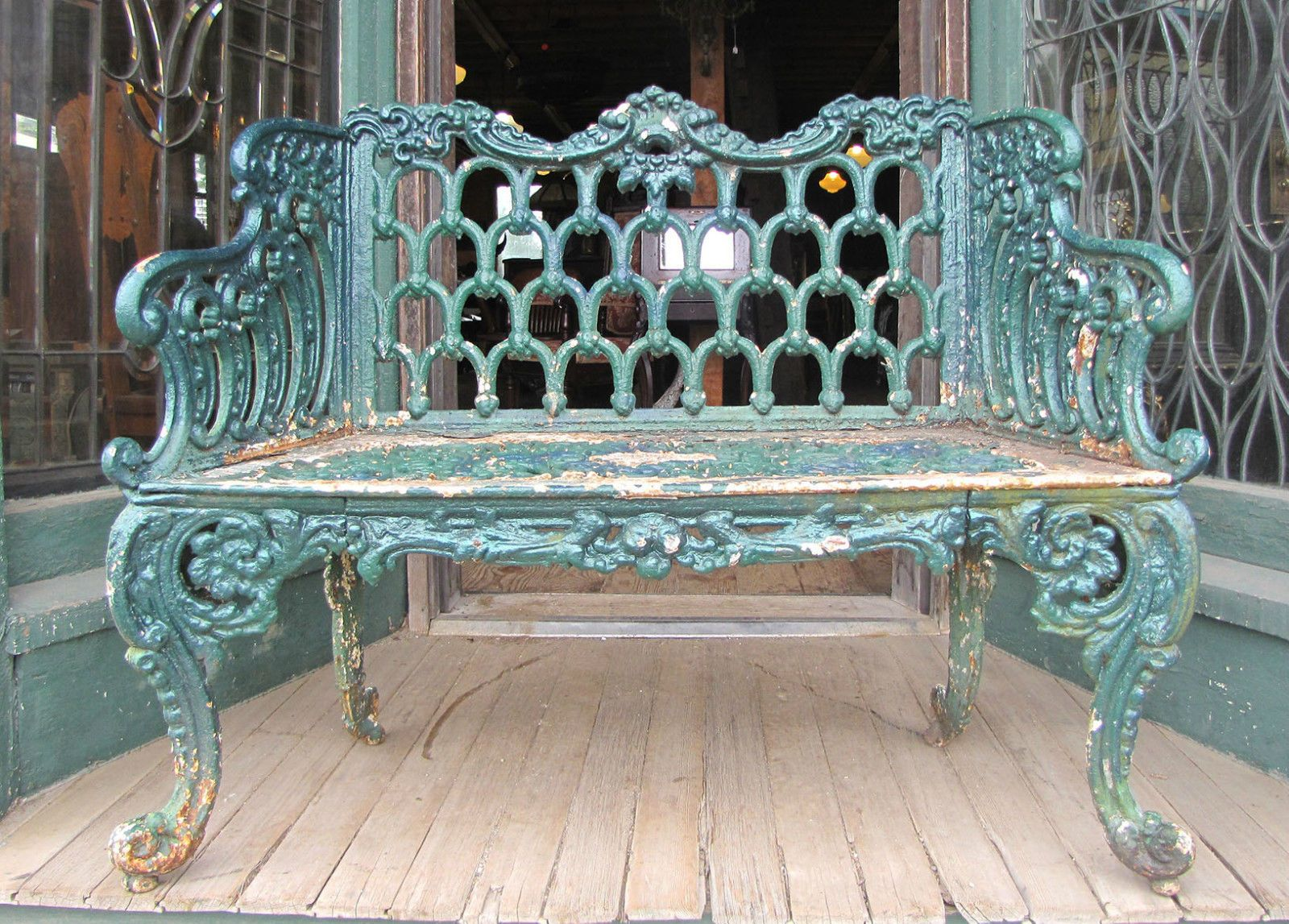 Victorian Cast Iron Kramer Brothers Rose Garden Iron Bench Iron