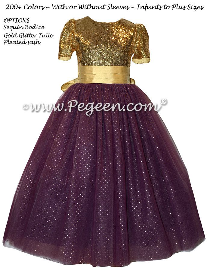 3855bcd64f Eggplant and Gold Sequined Silk and Tulle flower girl dresses ...