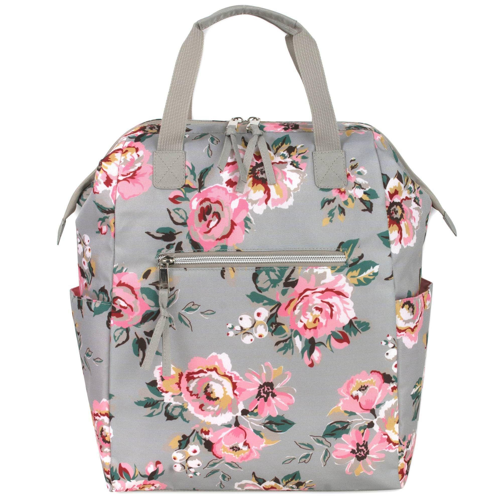 Baby essentials floral wide frame diaper bag backpack in
