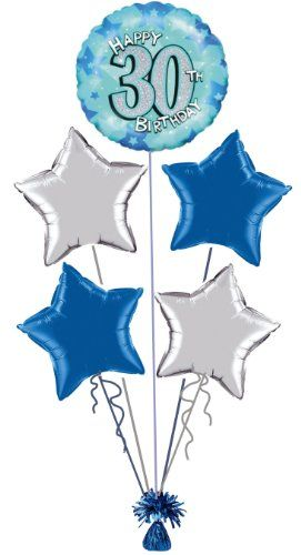 30th BIRTHDAY BLUE SILVER FOIL HELIUM BALLOON DISPLAY IDEAL FOR PARTY Display Amazon Couk Dp B00GF0JG68 Refcm Sw R Pi Tomvb0PX4T3J