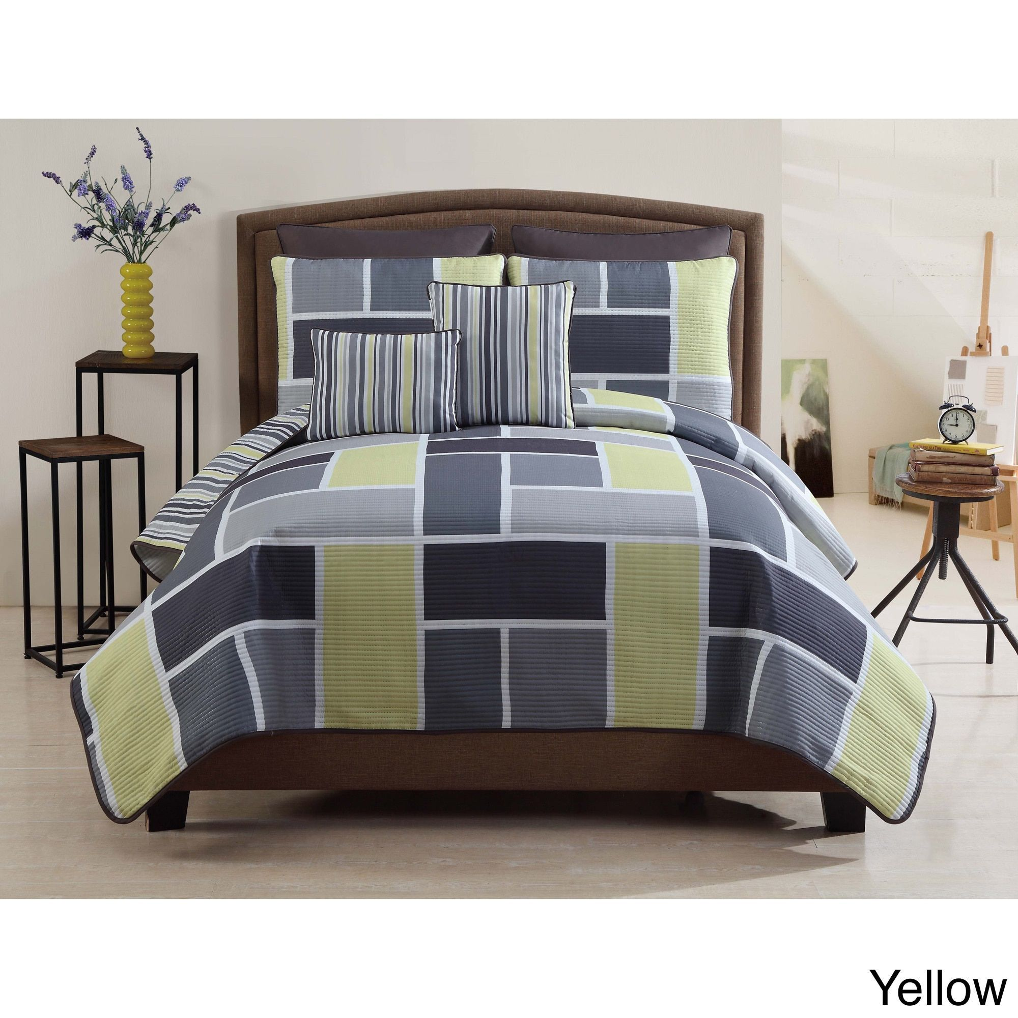 vcny morgan piece contemporary quilt set (as is item)  quilt  - vcny morgan piece contemporary quilt set (as is item)