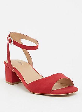 Red Faux Suede Block Heel (Wide Width