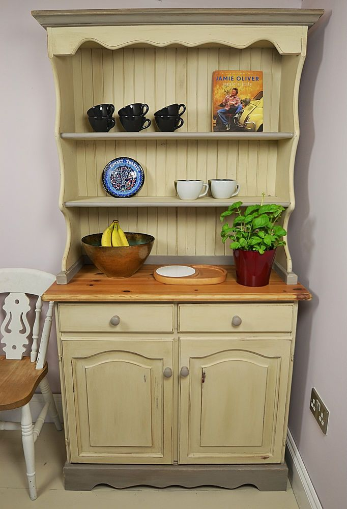 Small Cream Shabby Chic Welsh Dresser Display Cabinet Free Uk Delivery