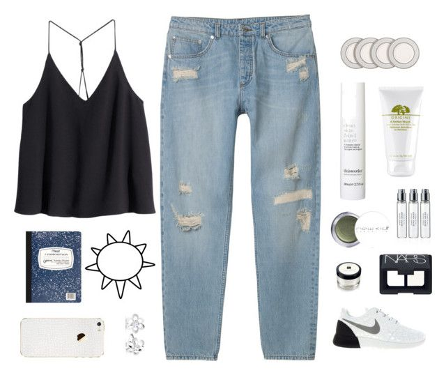 """Fall 7"" by valiii ❤ liked on Polyvore featuring Monki, H&M, NIKE, Jo Malone, New CID Cosmetics, NARS Cosmetics, Byredo, This Works, Origins and Mead"