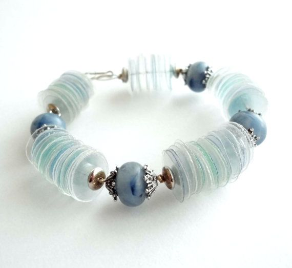 Upcycled jewelry blue bracelet made of recycled by dekoprojects