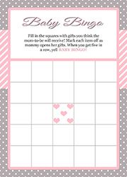 Pink And Gray Baby Shower Bingo Game For Girls