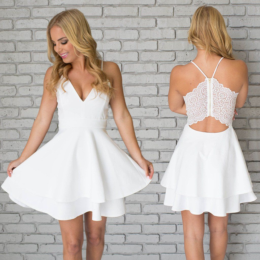 A line white vneck spaghetti straps short mini homecoming dresses