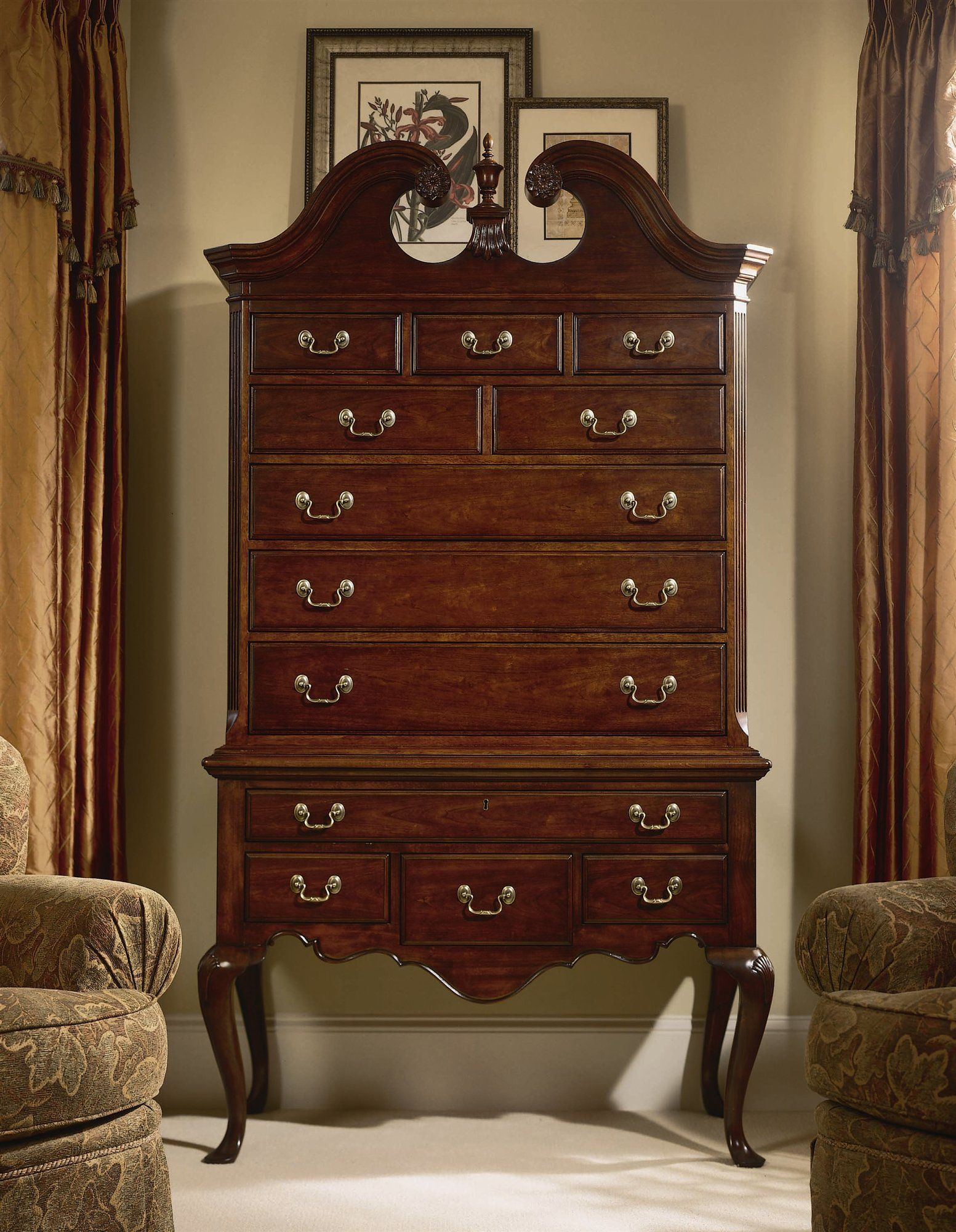 of dillingham an product orange esprit with highboy walnut mirror chest drawers attached tall