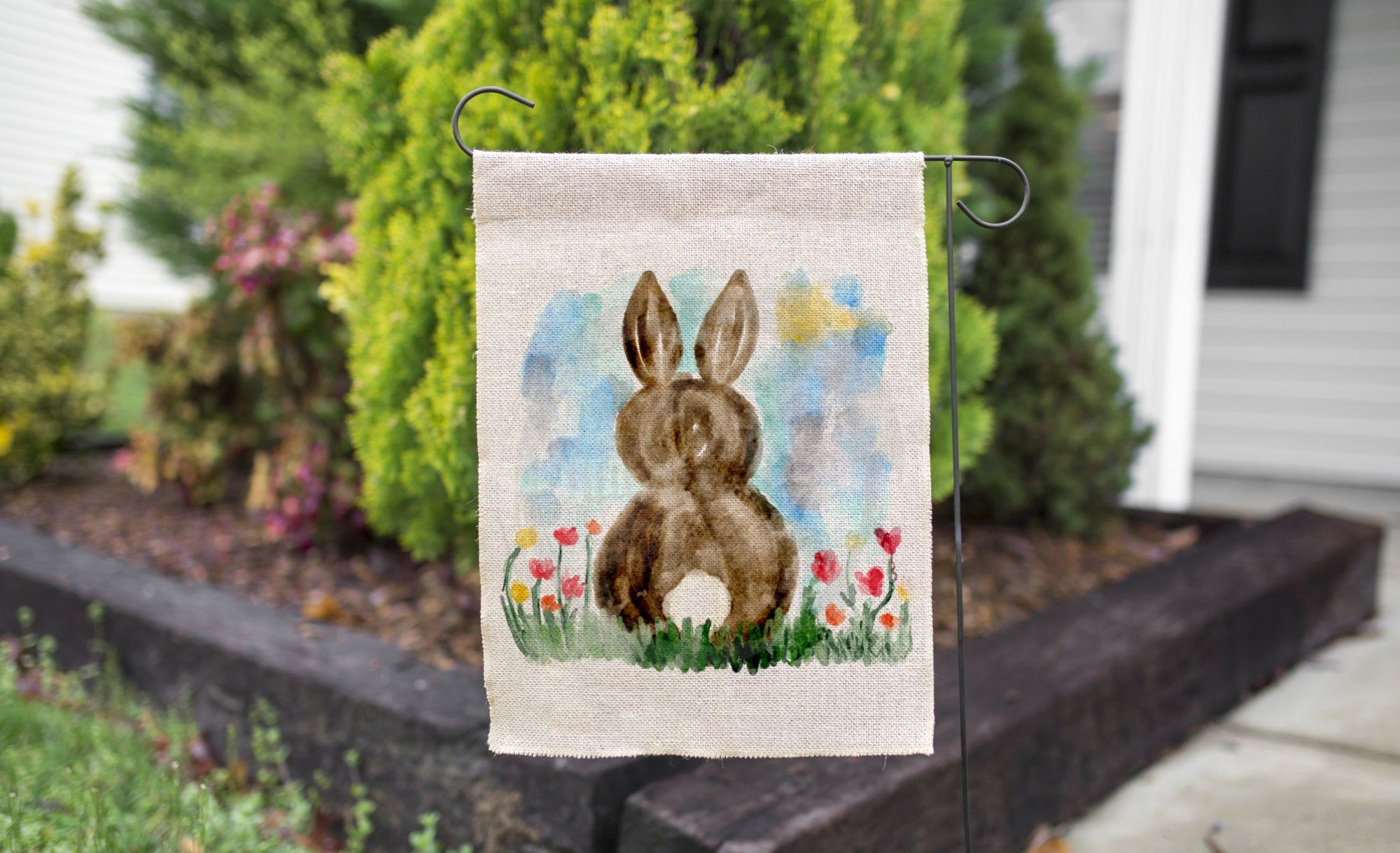 Watercolor Bunny With Tulips Spring Garden Flag Yard Flags For