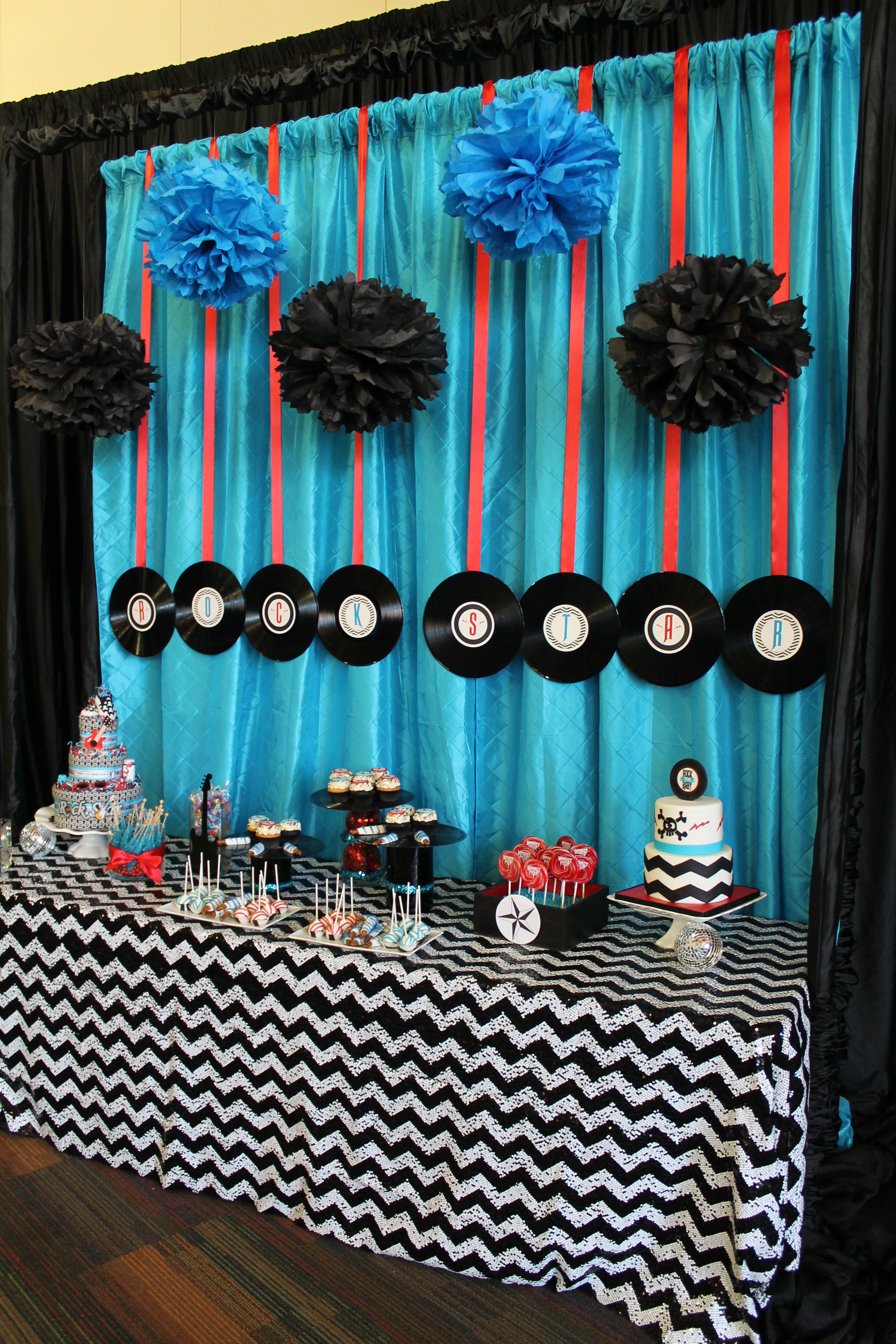Rock N Roll Baby Shower Music themed parties, Music
