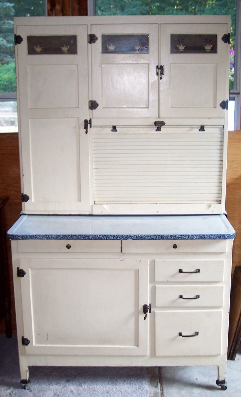 McDougall Hoosier Cabinet Oak Painted White Flour Sifter 71\