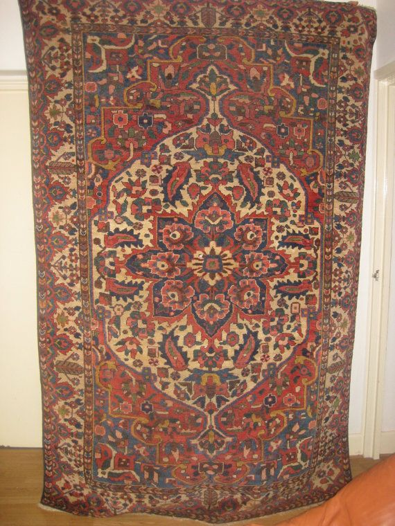 Antique Persian Rug Antiques Area Fine Handmade Bakhtiari Library Decor Home Made Rugs Uk Mats