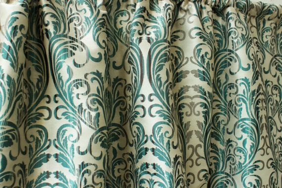 Teal Silk Damask Curtain Panels 50 Quot Beige Gold Red Damask