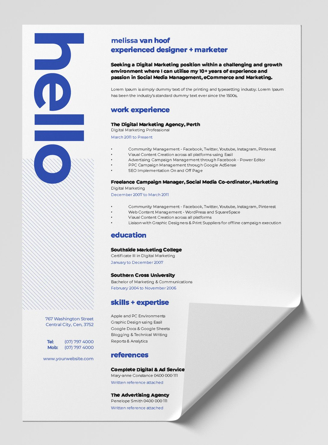 12 Best Free Resume Templates Tips On How To Stand Out Easil Graphic Design Resume Resume Design Creative Resume Design Free