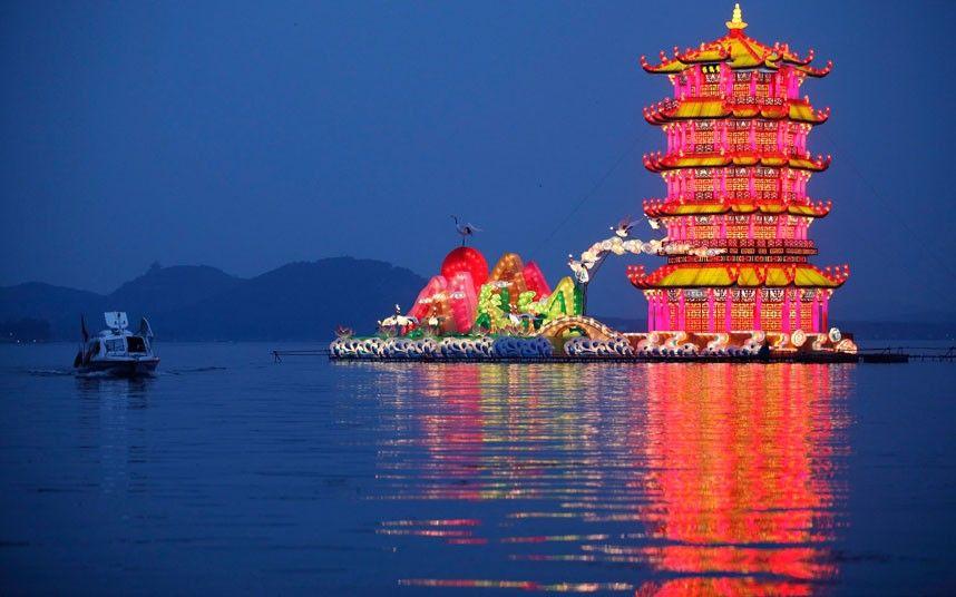 Wuhan-Chengdu International Panda Lantern Festival on Donghu lake in Wuhan, Hubei province, China