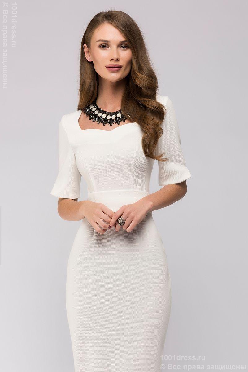 Платье белое длины миди с разрезом на рукаве в интернетмагазине