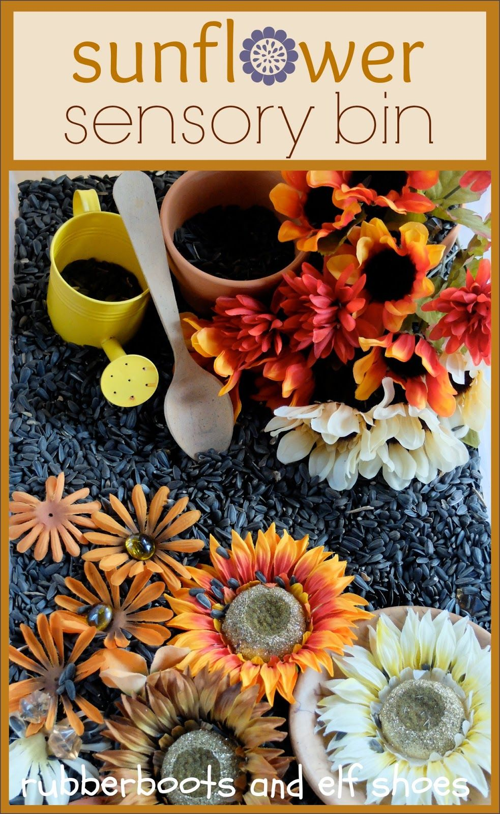sunflower sensory bin from rubber boots and elf shoes