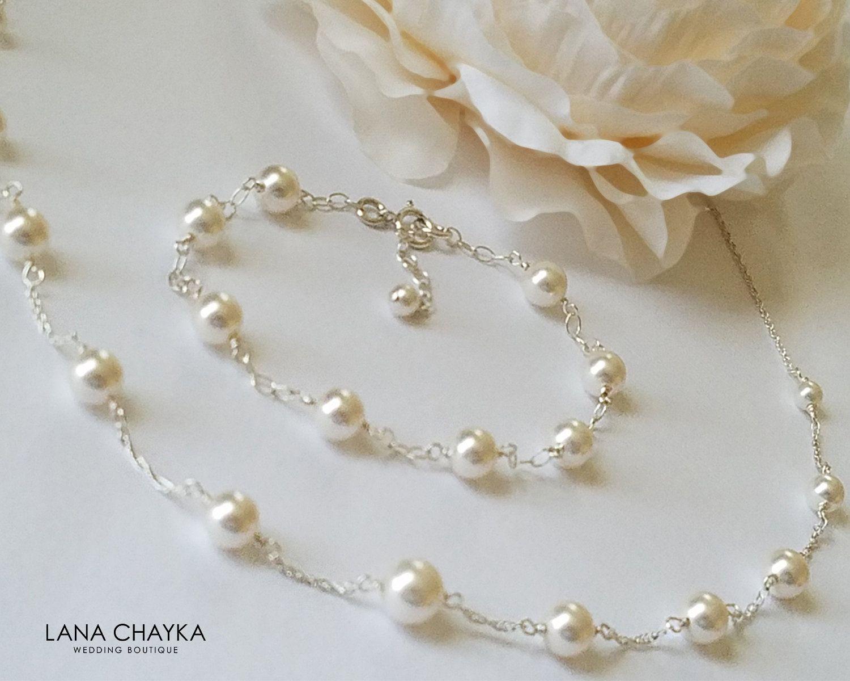 Photo of White Pearl Bridal Jewelry Set, Swarovski Pearl Necklace & Bracelet Set, White Pearl Wedding Jewelry, Bridal Pearl Jewelry, Dainty Pearl Sets