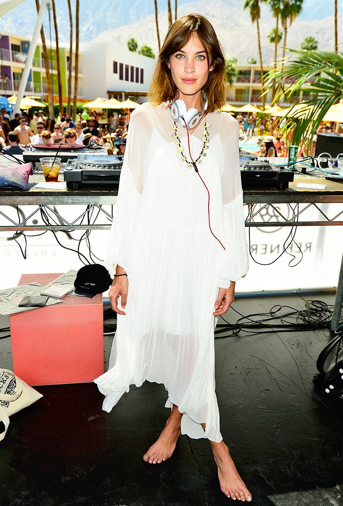 41019df2ef1 Alexa Chung in a white sheer Chloé dress    Coachella 2015