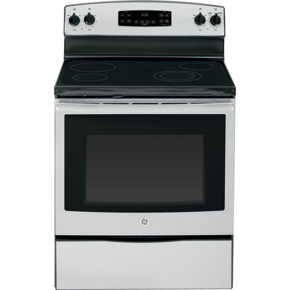 Ge 5 3 Cu Ft Electric Range With Self Cleaning Oven In Stainless Steel Jb630rfss The Home Depot Electric Range Freestanding Electric Ranges Glass Cooktop