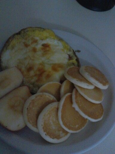 Eggs, veggies, apples and pancakes