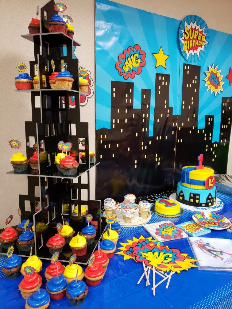 Superhero Themed 1st Birthday Party For Lincoln 1st Birthday