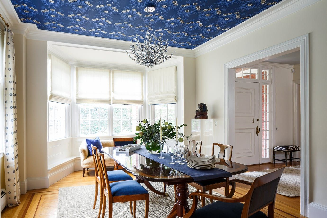 Dining Room With Navy Wallpaper Drapes Sisal Rug And Modern Glamorous Scs Dining Room Furniture Review