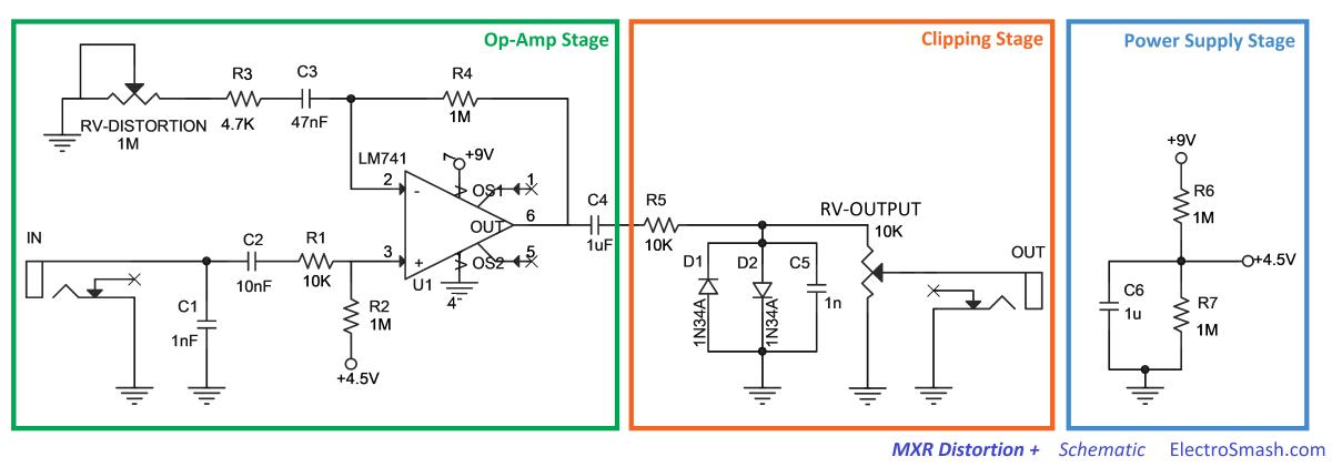 mxr distortion schematic parts   pedals   Mxr distortion, Distortion on