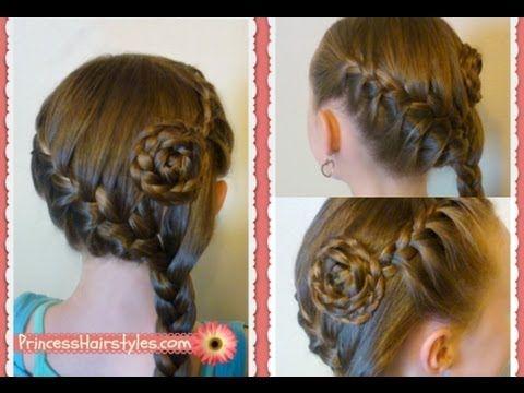 Side Swept French Braid Flower Hairstyle Medium Long Hairstyles Hair Tutorial Youtube Hair Styles Hair Videos Princess Hairstyles
