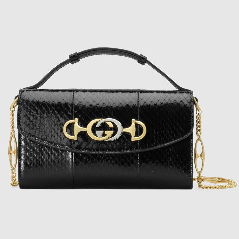 1794943a48aa Gucci Zumi snakeskin mini shoulder bag in Black snakeskin | Gucci Women's  Exotics