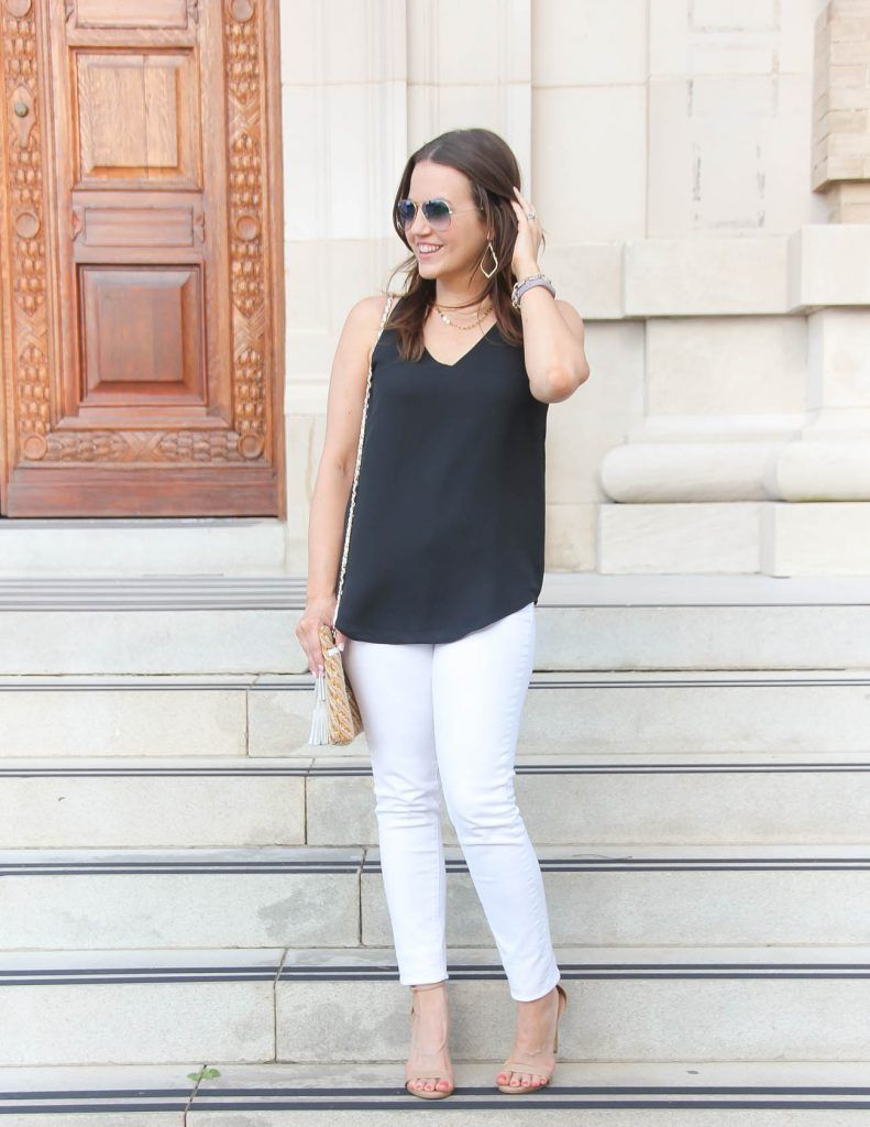 3a22c9bca66b5f Summer Outfit   White Jeans   Black Cami   Lady in Violet   Houston Fashion  Blogger