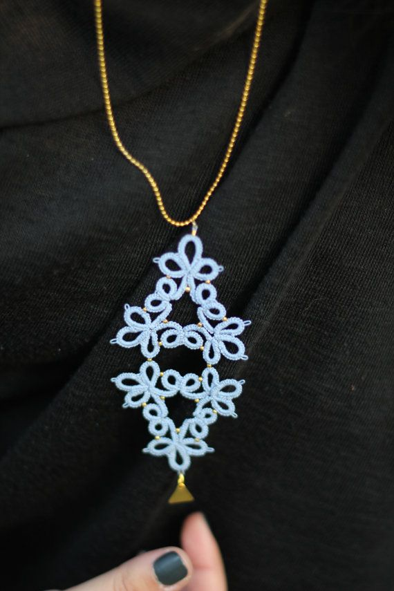 Bohochic lace necklace with brass charm in by MypreciousCG on Etsy