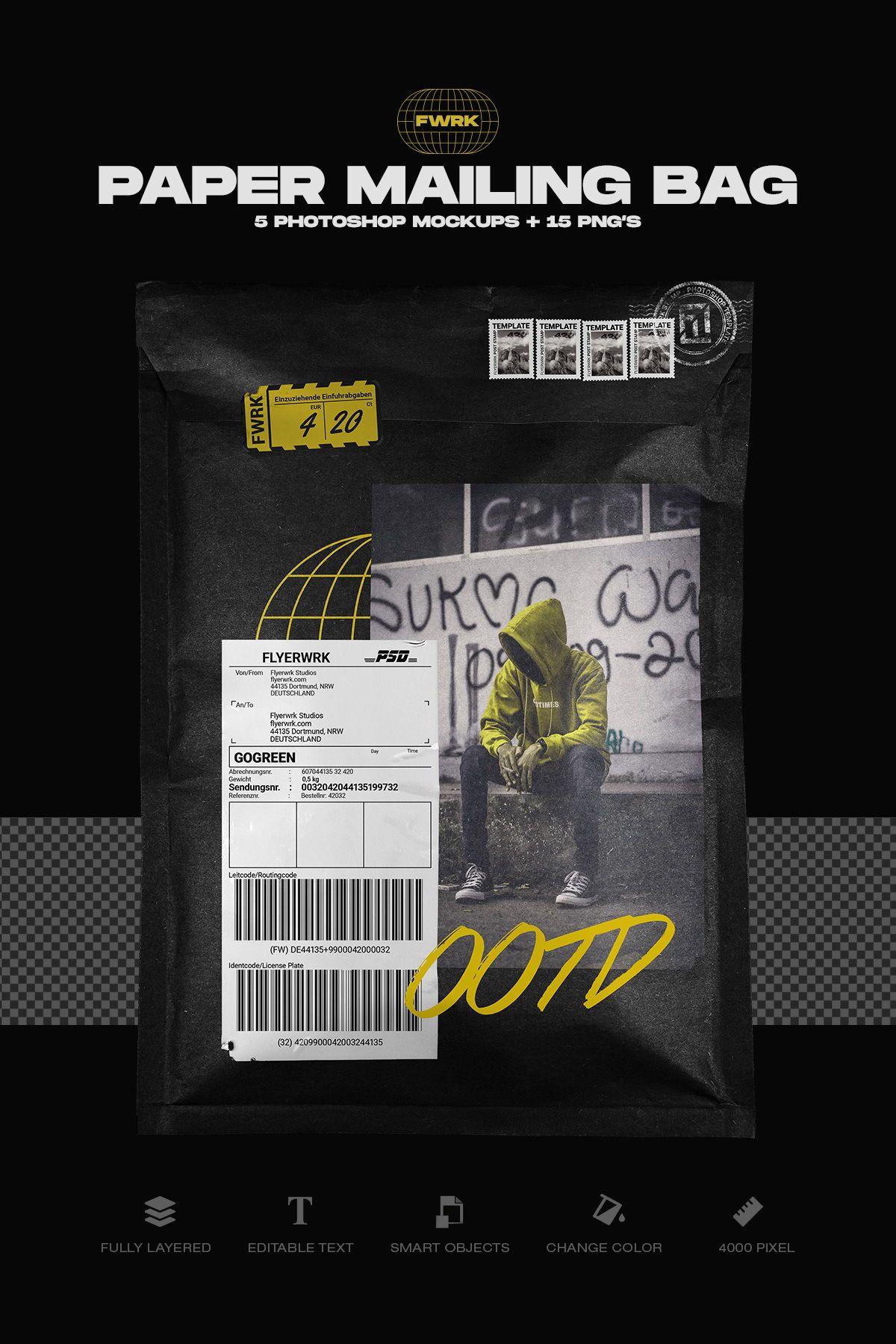 Paper Mailing Bag Photoshop Mockup Photoshop Mockup Graphic Design Posters Photoshop