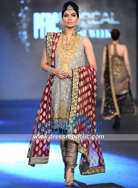 Silver Grey Flraed Anarkali Dress with Round Neck by Sana Safinaz ...
