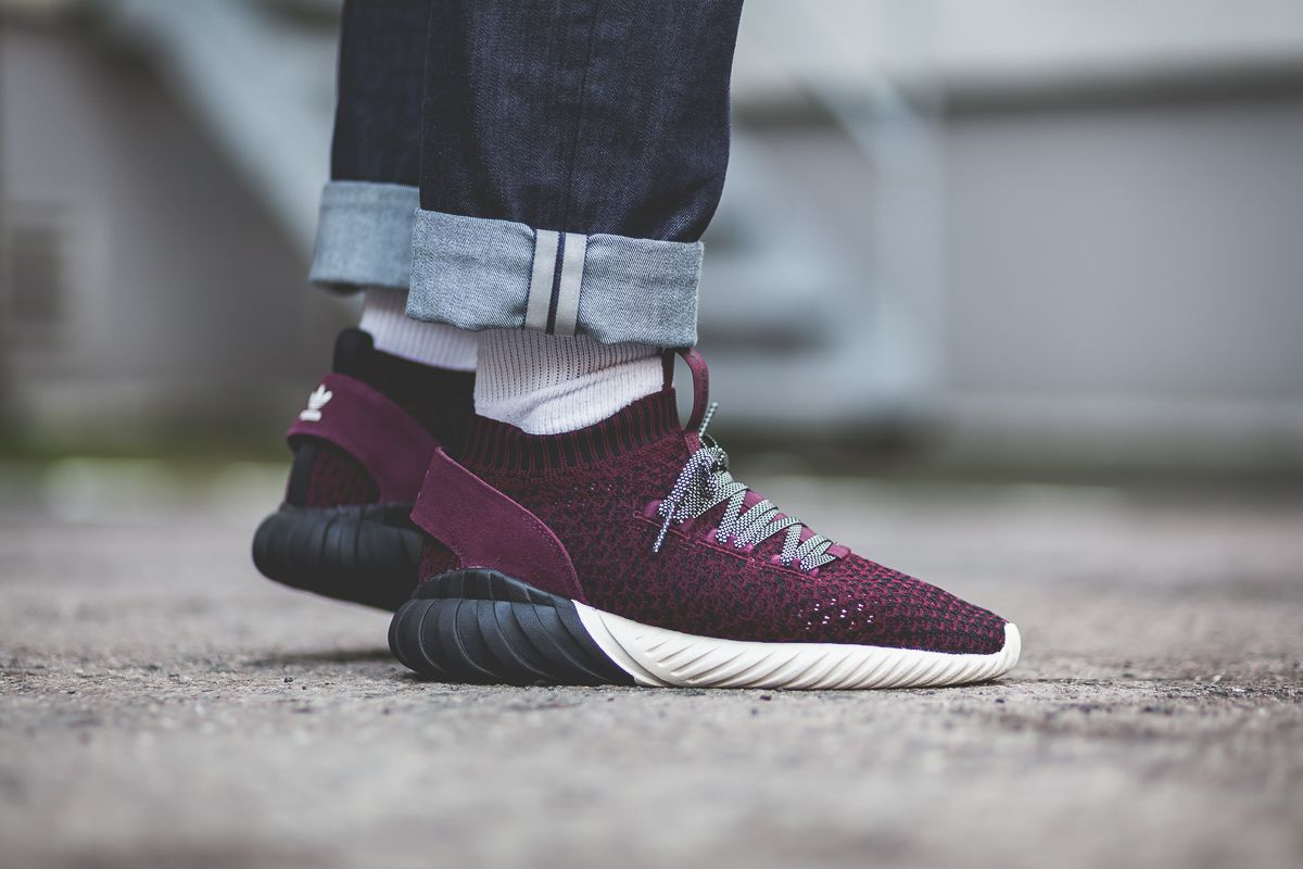 Adidas Tubular Doom Sock Primeknit Black Maroon Cq0944 With
