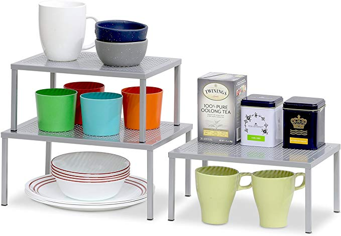 Amazon Com Simplehouseware Expandable Stackable Kitchen Cabinet And Counter Shelf Organizer Silver Home Kitch Stackable Shelves Shelf Organization Shelves