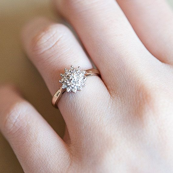 Diamond Cluster Engagement Ring Vintage Flower By Finenepic Would Match The E Cluster Engagement Ring Vintage White Gold Promise Ring Cluster Engagement Ring
