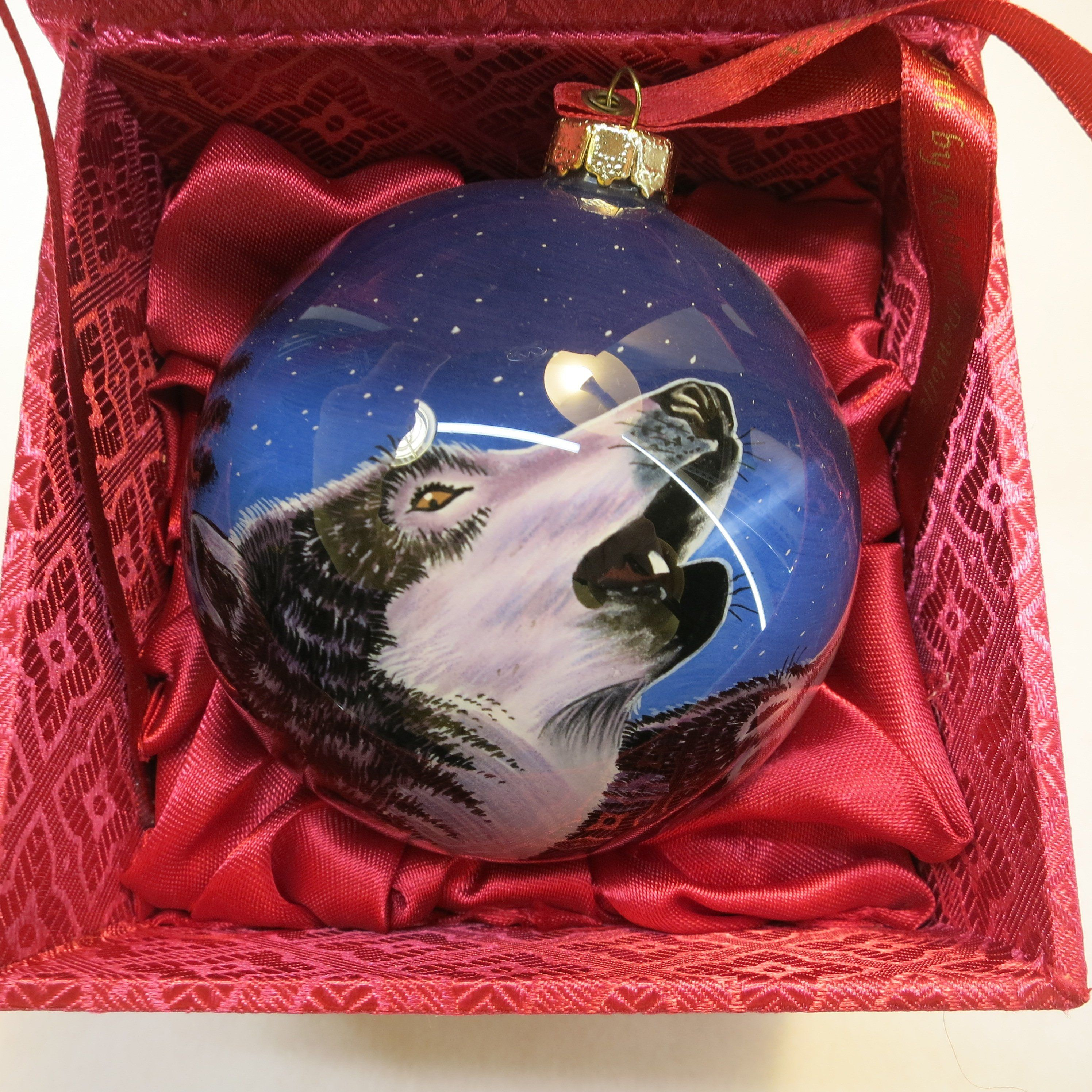 Vintage Ne Qwa Art Song Of The North Wolf Richard Dewolf Christmas Ornament Painted On The Inside Christmas Ornaments Ornaments Art
