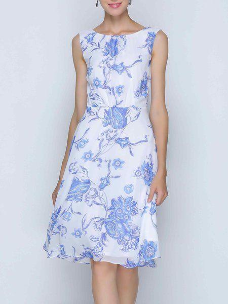 Shop Midi Dresses - Light Blue Floral Slash Neck Casual Midi Dress online. Discover unique designers fashion at StyleWe.com.