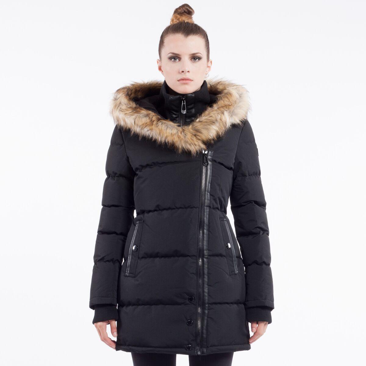 Noize Women's Asymmetrical Faux Fur-Trimmed Zip Coat