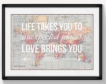 World map print travel poster map quote by oflifeandlemons on etsy world map print travel poster map quote wanderlust poster world map poster a3 love quote wedding gift map of world life and lemons gumiabroncs Images