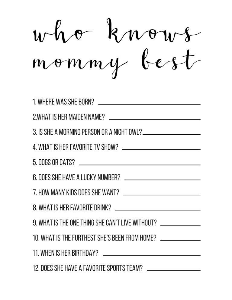Baby Shower Games Free Printable Who Knows Mommy Best Boy or girl cheap simple fun and easy DIY baby shower game idea Source by jamiewolbert ideas
