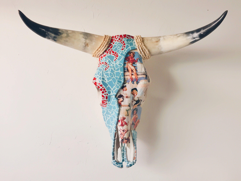 Pin up artwall decorlonghorn cow skull turquoisemosaic pin up artwall decorlonghorn cow skull turquoise amipublicfo Choice Image