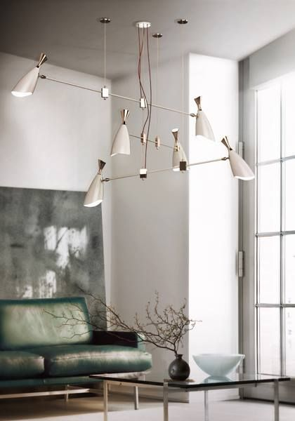 A unique design for a vintage or contemporary home interior handmade floor suspension table and wall lamps