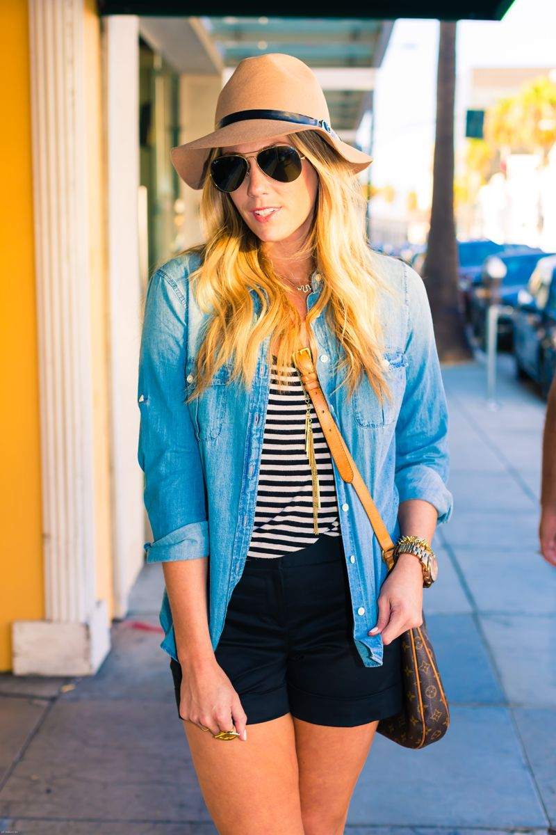 Stripes, shorts, chambray