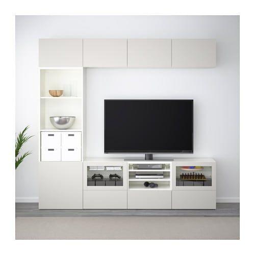 BESTÅ Combinazione TV/ante a vetro - bianco Lappviken ...