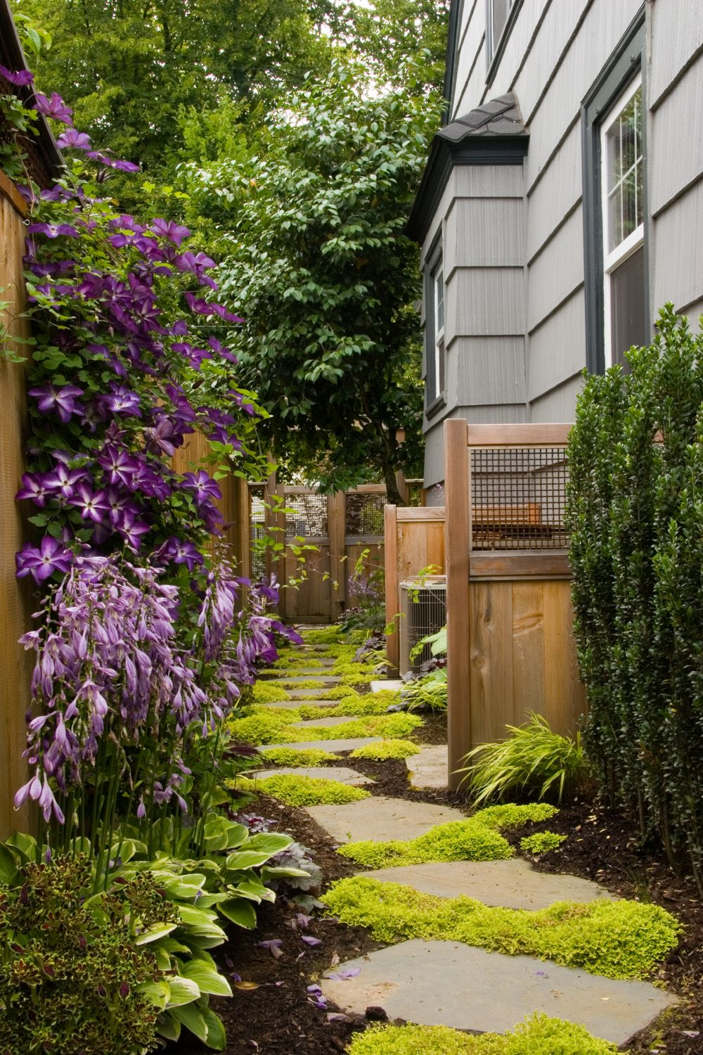 3 inexpensive garden paths side yards yards and gardens for Small narrow garden designs