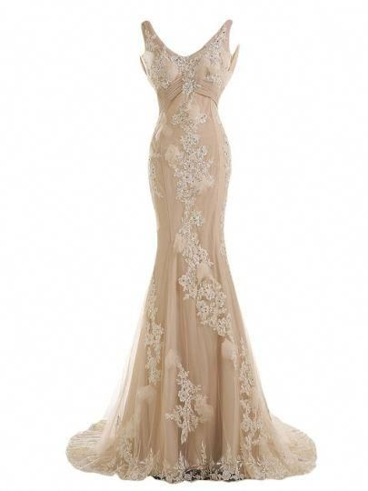 Low Back Sequins Appliques Beaded Mermaid Evening Dress ...