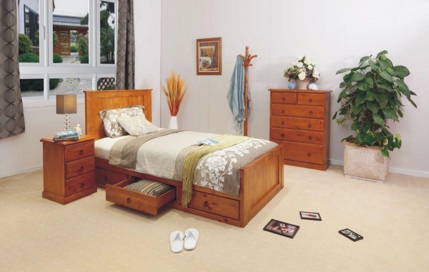 KING SINGLE JACK STORAGE BED WITH 3 UNDERBED STORAGE DRAWERS (MODEL WKSB 3D