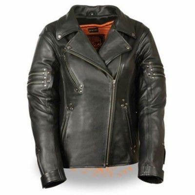 Milwaukee Fitted Rivet Women Cowhide Leather Cruiser Motorcycle Jacket Made Of Cowhide Leather With Rivet De Leather Jacket Police Jacket Leather Jackets Women